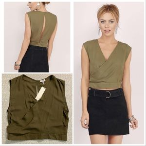 TOBI Never Say Never olive crepe crop top NWT